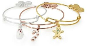 ALEX and ANI -  Set of 3 Holiday Bracelets -  Snowman, Gingerbread, Candy Cane