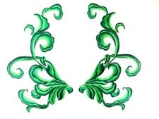 """Green Embroidered Appliques Dance Costume Mirror Pairs Patch 11"""" GB289X"""