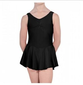 Kids Shiny Nylon  Sleeveless Dance Ballet Gymnasts Leotard with skirt Girls
