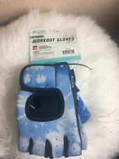 Women's Blue Jillian Michael's Workout  Gym Gloves w/ Wrist Straps.