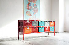 5 x 2 Vintage Locker Basket Unit, Red Frame and Multi-Colored Baskets