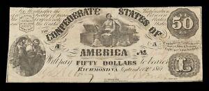 1861 $50 Confederate Note T-14 in Fine Condition