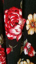 Woman's Full Skirt, Black/Red Floral Design, SZ Large,  Lisa Josephs