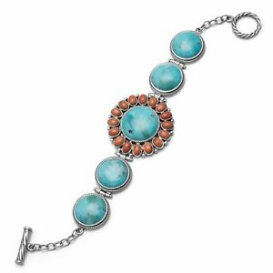 Sterling Silver Reconstituted Turquoise and Coral Toggle Bracelet