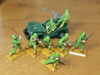 BRITAINS DEETAIL, WW2, 6 X U.S ARMY INFANTRY, WITH JEEP...1/32 TOY SOLDIERS.
