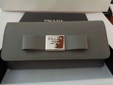 NWT PRADA Saffiano Leather FIOCCO WALLET Gray/Silver Metal BOW $870 1MH132