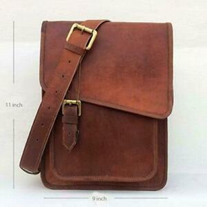 New Men's Top-Quality Sling Bag Genuine Brown Leather Satchel Messenger Shoulder