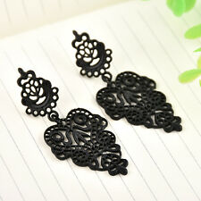 Vintage Black Alloy Pierced Long Dangle Drop Earrings Bohemian Women Jewelry