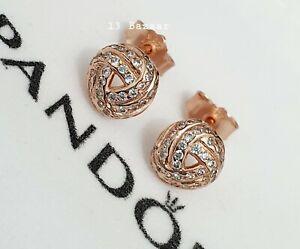 Pandora Shimmering Knot Stud Earrings Rose Gold