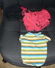 SIZE: Small WARM RED DOG COAT WITH HOOD, PLUS A STRIPE T-SHIRT