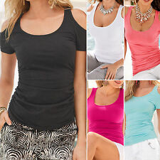 Womens Cold Shoulder Short Sleeve Blouse Summer Slim Fit Casual T-Shirt Tops Tee