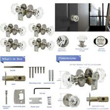 5 Pack Keyless Privacy Door Knobs(Locked Inside), Crystal Glass Door Handles For