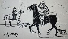 RENAUDOT, DESSIN de PRESSE ORIGINAL SIGNE, RENCONTRES à CHEVAL, vers 1910