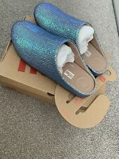 Fitflop Slippers Size 7 Chrissie Sequin Slippers Blue