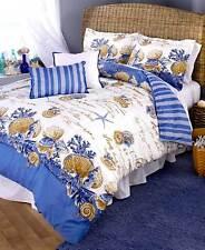 5 Pc Coastal King Comforter Set Pillow Shams Shells Beach Nautical Bedroom Decor