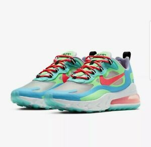 """Nike Women's Air Max 270 React """"Psychedelic"""" Blue Green White Size 6 AT6174-300"""