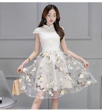 new summer Korean fashion elegant temperament Bud silk organza dresses