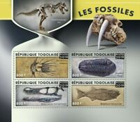 Togo - 2019 Fossils on Stamps - 4 Stamp Sheet - TG190102a