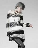 Punk Rave Shredded Knit Sweater Top Black White Stripe Goth Distressed Grunge