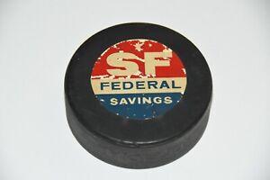 rare vintage San Francisco Seals Hockey Puck KCBS Radio 74 SF Federal Savings