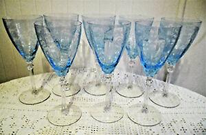 "8 VINTAGE FOSTORIA AZURE BLUE VERSAILLE 8 1/4"" WATER GOBLET GLASSES EXCELLENT !!"