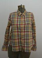 Lands' End Canvas Sz 2 Women's Cotton Flannel Button Up Shirt Blue & Pink Plaid