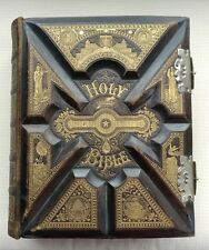 Antique Parallel Family Bible Pictorial Leather, Truly Unique 1886