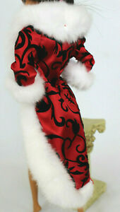 NEW Barbie Doll Red Jacket Coat White Fur Satin Fashion Accessory fit Model Muse