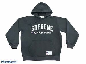Supreme X Champion Black Hoodie Size Large Used Hype Beast