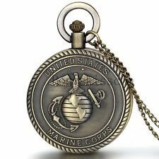 Men's Antique Vintage Bronze United States Marine Corps Quartz Pocket Watch Gift