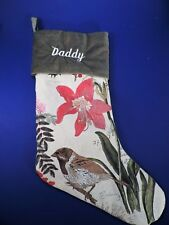 "POTTERY BARN ""LINEN"" CHRISTMAS STOCKING ""DADDY""   MINT"