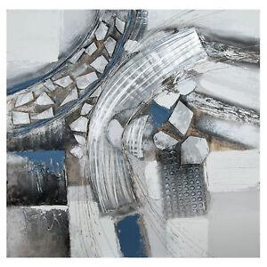 """Gilde Gemälde """"Voltare"""" creme/weiß/silber/blauhandgemalt Breite 100,0 cm Höhe"""