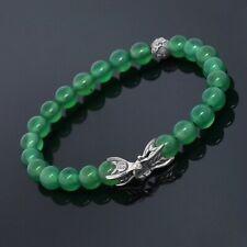 "David Yurman Men Silver Accent 8MM Green Onyx Spiritual Beads Bracelet 8.5"""