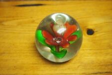Vintage Glass Paper Weight – Red flower