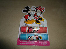 """Two .12 Oz. Disney """"Mickey & Minnie Mouse"""" Flavored Lip Balms, NEW IN PACKAGE!!"""