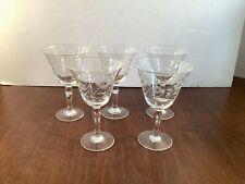 Set of 5 Vintage Etched Floral Stemmed Cordial Glasses