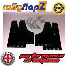 Rally Style Mudflaps SEAT LEON Mk2 (05-11) Mud Flaps Black Logo Silver 4mm PVC