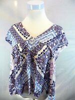 NEW Express Womens XSmall Top Purple White Blouse Geometric V Neck Sleeveless