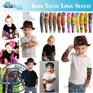 Kids Tattoo Sleeve Sun UV Stretch Arm Cover Costume Dress Cute Party