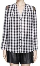 Sandro 'Clarisse' Silk Check Lace Trim Blouse, Sz 3 or L (RRP $420 AUD)