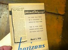 10FEB19A- BOOKLET   HORIZONS   MARCH 2 1958 TEEN DELINQUENCY