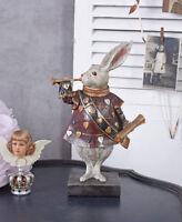 Vintage Figur weisses Kaninchen Alice im Wunderland Skulptur Märchenfigur Hase