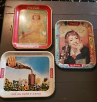 LOT OF 3 COCA COLA VINTAGE TRAY WOMEN COKE