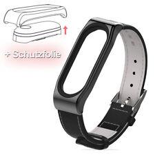 Leder Armband Uhrenarmband Ersatz Strap & Hartglas Folie für Xiaomi Mi Band 3