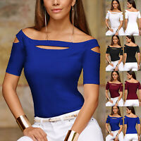 Women Ladies Off Shoulder Short Sleeve T Shirt Summer Slim Cut Out Blouse Tops