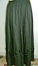 "Victorian/Edwardian 1900 black glazed cotton petticoat skirt silk trim waist 28"""