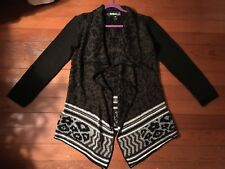 Desigual Long Open Front Cardigan Sweater Coat Brown & Black Size Large L