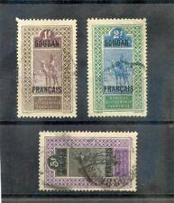 FRENCH SUDAN SC 44,47,49(YT 34-6)F-VF USED 1921 1F, 2F, 5F, TOP VALUES $20
