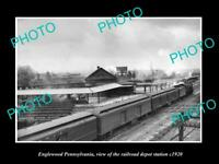 OLD POSTCARD SIZE PHOTO OF ENGLEWOOD PENNSYLVANIA THE RAILROAD DEPOT c1920