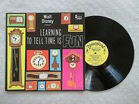 Vintage Walt Disney LEARNING TO TELL TIME IS FUN Vinyl LP DQ-1263 1964 EX/VG++